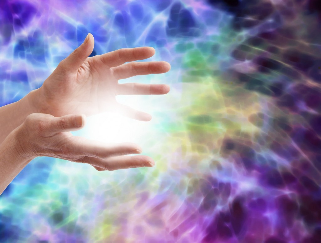 Hands with powerful chi healing energy